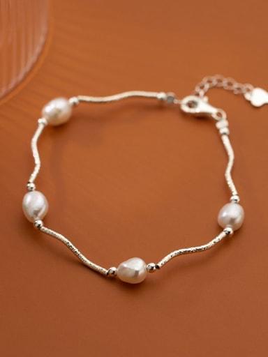 925 Sterling Silver Freshwater Pearl Irregular Minimalist Bracelet