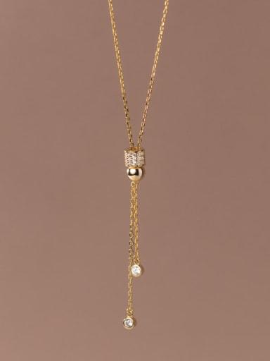 925 Sterling Silver Cubic Zirconia Tassel Minimalist Lariat Necklace