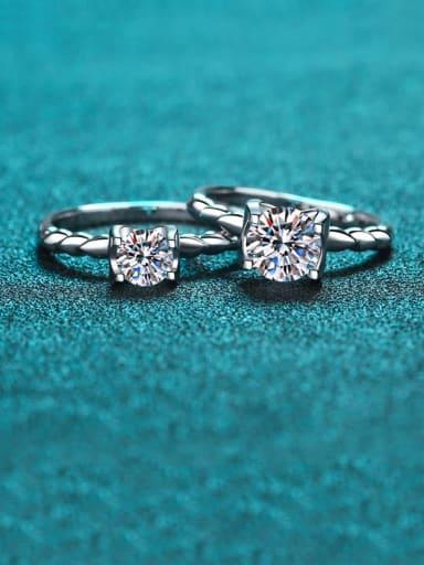 Sterling Silver  Moissanite White Geometry Sidestone Ring