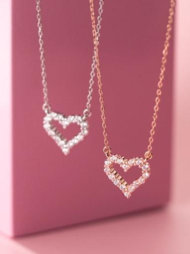 925 Sterling Silver Cubic Zirconia Heart Minimalist Necklace