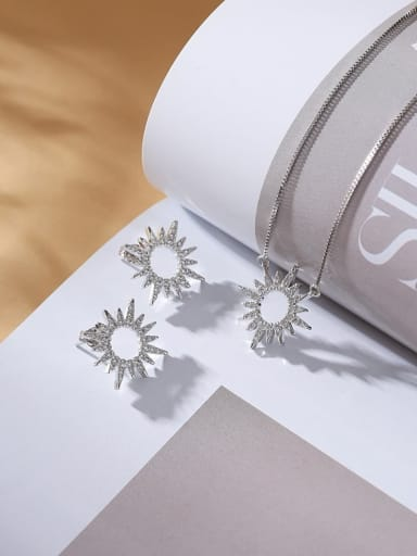 Platinum Earrings Brass Cubic Zirconia Dainty Star  Earring and Necklace Set