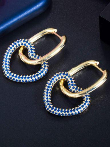 Golden Blue Brass Cubic Zirconia Heart Luxury Cluster Earring