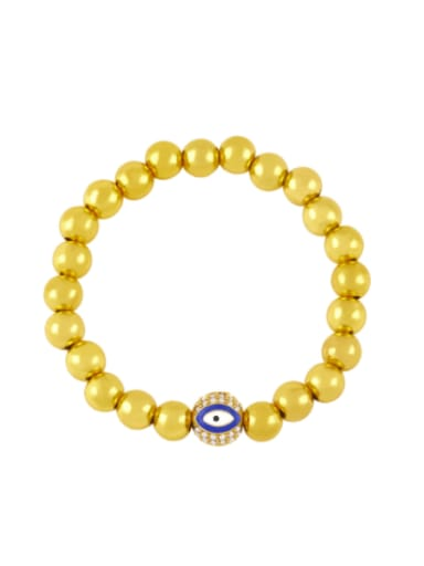 blue Brass Rhinestone Enamel Evil Eye Vintage Beaded Bracelet