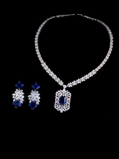 blue Brass Cubic Zirconia Luxury Geometric  Earring and Necklace Set