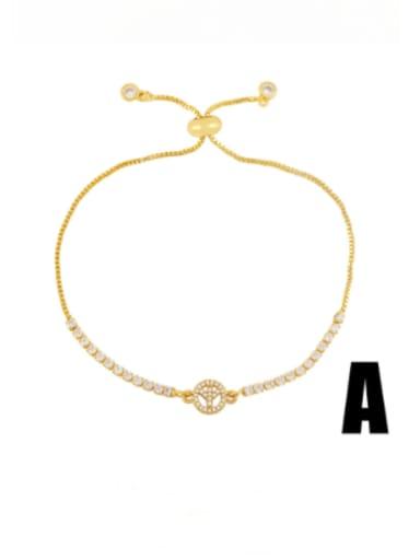 Brass Cubic Zirconia Heart Vintage Adjustable Bracelet