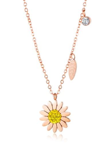 Little Daisy 1648 Titanium Rhinestone Number Minimalist Necklace