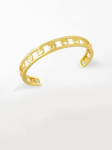 D Brass Cubic Zirconia Smiley Vintage Bracelet
