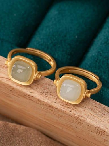 925 Sterling Silver Jade Geometric Minimalist Band Ring