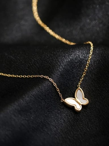 Titanium White Shell Butterfly Necklace