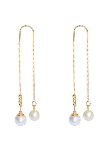 Brass Freshwater Pearl Tassel Minimalist Threader Earring
