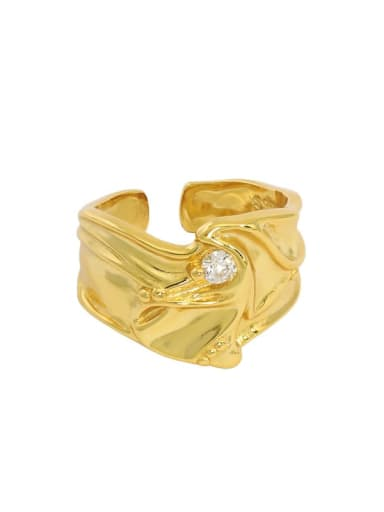 Gold [13 adjustable] 925 Sterling Silver Rhinestone Irregular Vintage Band Ring