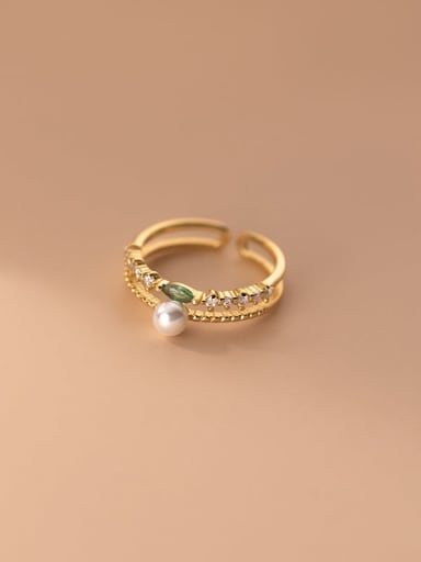 gold 925 Sterling Silver Cubic Zirconia  Minimalist  Double row drill Stackable Ring