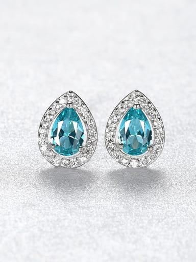 925 Sterling Silver Cubic Zirconia Water Drop Dainty Stud Earring