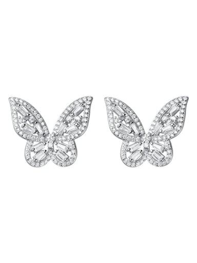 925 Sterling Silver Cubic Zirconia Butterfly Dainty Stud Earring