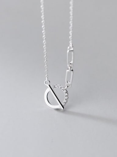 silver 925 Sterling Silver Hollow Geometric Minimalist Necklace