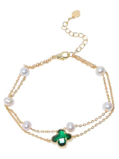Brass Freshwater Pearl Flower Vintage Strand Bracelet