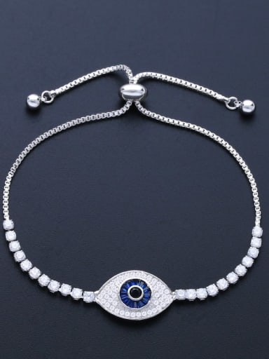 Blue eyes Brass Cubic Zirconia Evil Eye Minimalist Adjustable Bracelet