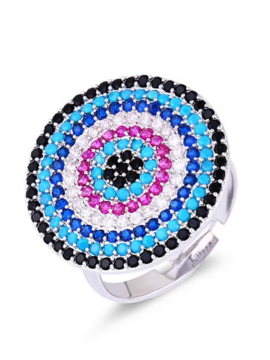 Brass Cubic Zirconia Evil Eye Luxury Cocktail Ring