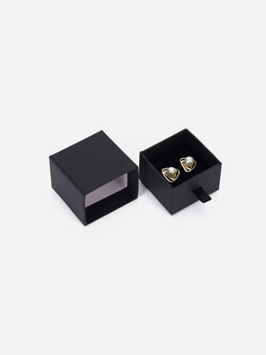Black Eco-Friendly Paper Pull Out Jewelry Box For Rings, Small Earrings