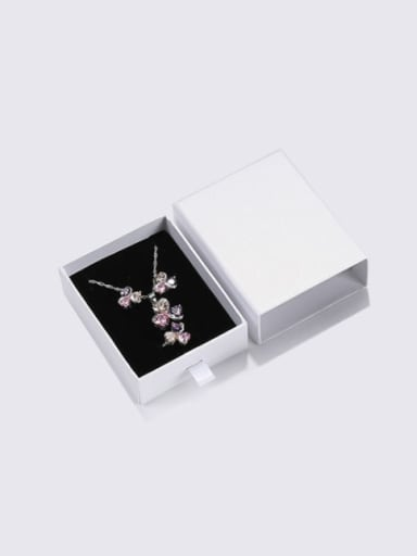 Pearl White Eco-Friendly Paper Pull Out Jewelry Box For Necklaces,Earrings,Brooches