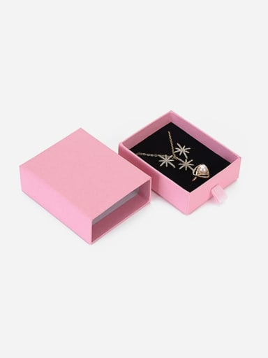 Pink Eco-Friendly Paper Pull Out Jewelry Box For Necklaces,Earrings,Brooches