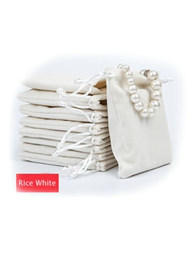 Rice White Flannel Beam Port Velvet Pouches Bag For Earrings,Rings,Necklaces,Bracelets And Brooches