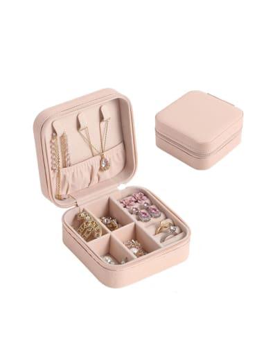 Pink 2 Layers PU Leather Jewelry Storage Box 10cmX10cmX5cm