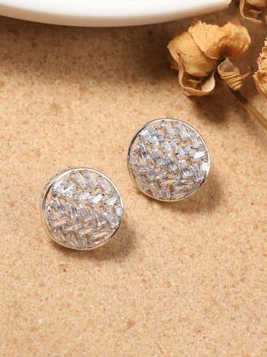 Brass Cubic Zirconia White Round Minimalist Stud Earring