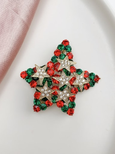 Alloy Rhinestone Multi Color Star Minimalist Brooch