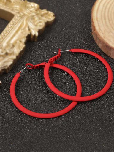 Brass Enamel Round Minimalist Hoop Earring