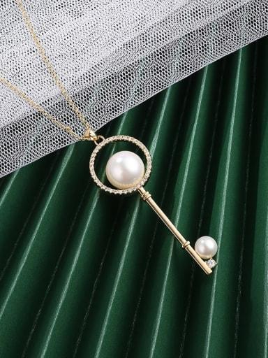 Gold Brass Cubic Zirconia White Key Minimalist Long Strand Necklace