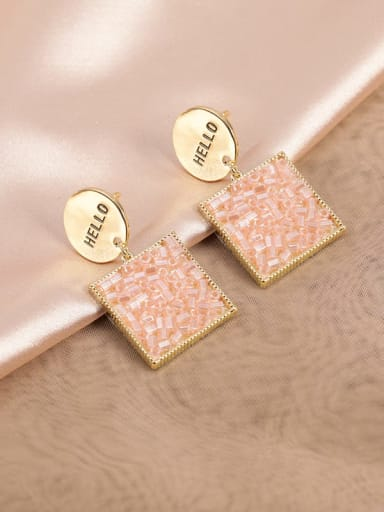 Golden pink beads Brass Glass Stone White Square Classic Drop Earring