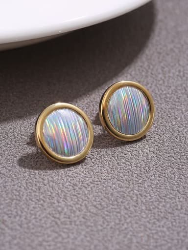 Round gold Brass  Ribbon simple round  Earrings