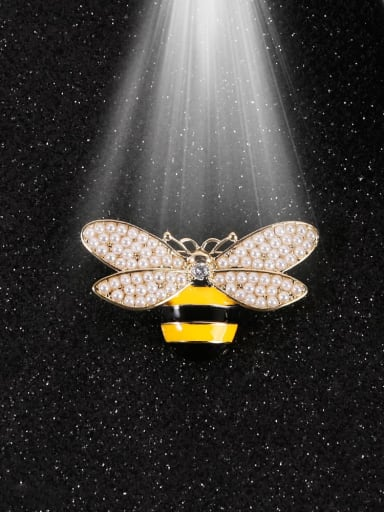 Brass Imitation Pearl White Enamel Bee Classic Brooch