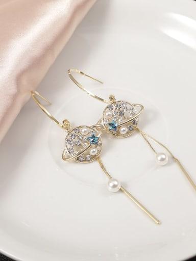 Brass Cubic Zirconia White Tassel Classic Stud Earring