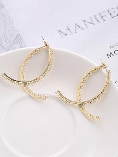 Brass  Cubic Zirconia temperament simple Cross Earrings