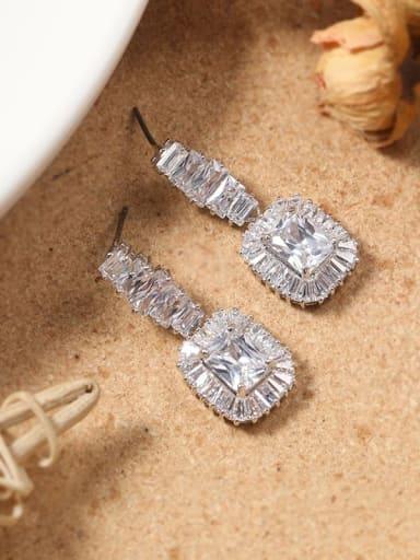 White Brass Cubic Zirconia White Irregular Dainty Drop Earring
