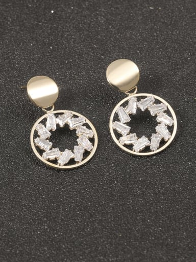 Brass Cubic Zirconia White Round Classic Drop Earring