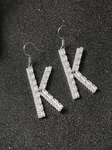 Brass Cubic Zirconia White Letter Classic Cluster Earring