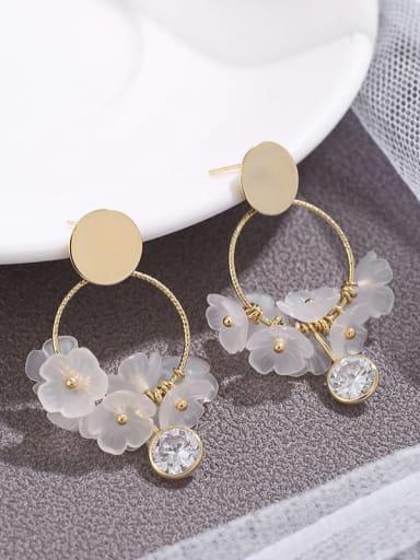Brass  Cubic Zirconia flower simple Earrings