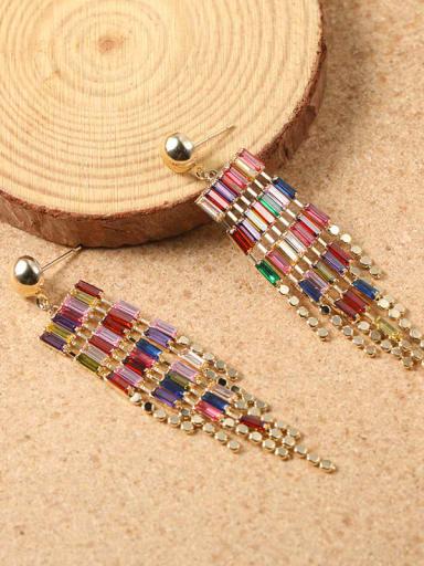 Brass Cubic Zirconia Multi Color Tassel Statement Drop Earring