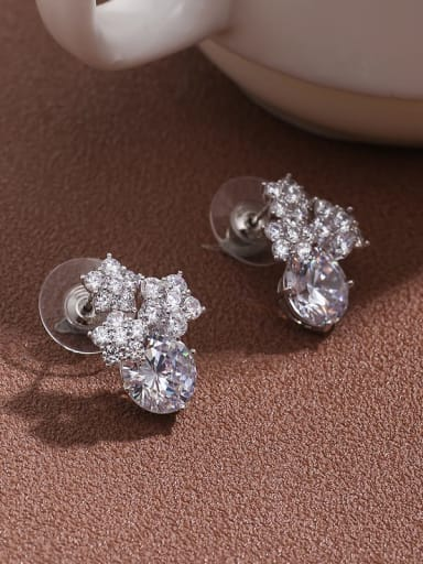 Brass  Cubic Zirconia  short temperament Earrings