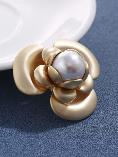 Brass Imitation Pearl Trend  Enamel Flower Brooch