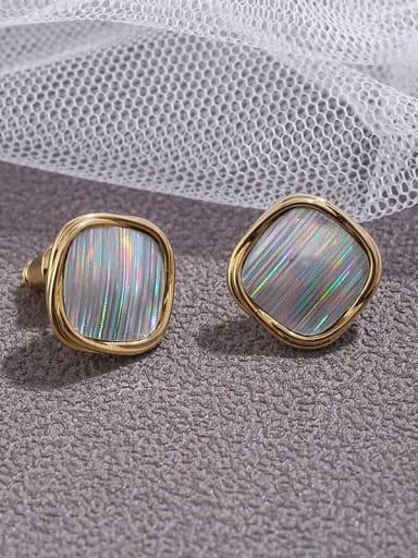 Brass  Ribbon simple round  Earrings