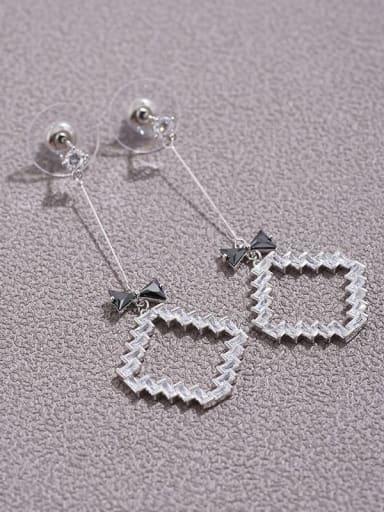 Brass  Cubic Zirconia  fashion Square Pendant  long earrings