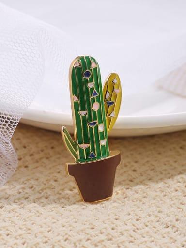 Brass+Enamel Cute cactus  accessories