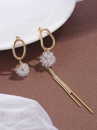 Brass Cubic Zirconia Simple Asymmetry  Tassel Long Earring
