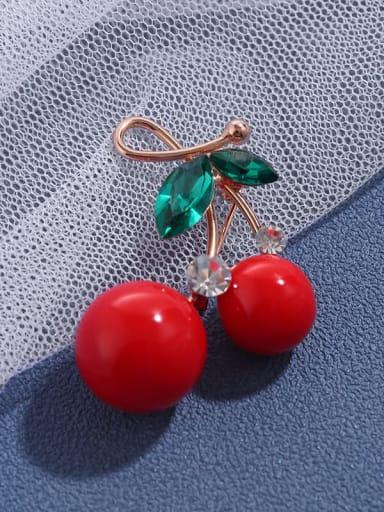 Rose Golden (red) Red cherry Brooch female high-grade temperament versatile pin neckline decoration sweater Brooch accessories