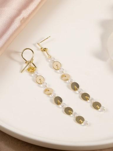 Brass Crystal Clear Geometric Minimalist Drop Earring