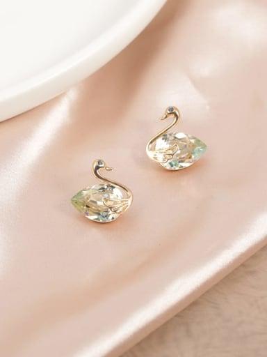 Brass Crystal Yellow Swan Dainty Stud Earring